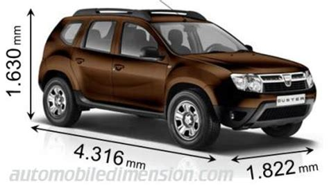 Dimensions of Dacia cars showing length, width and height