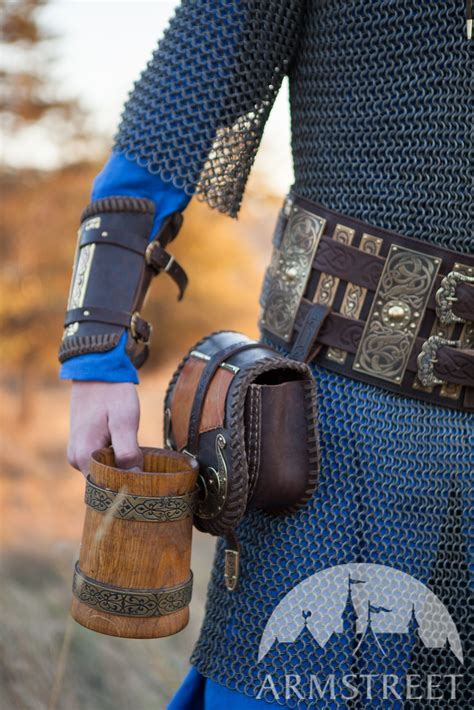 Medieval Viking's Leather Belt with Brass Accents