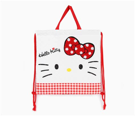 Hello Kitty Quilted Drawstring Bag: Textured Bow | Hello