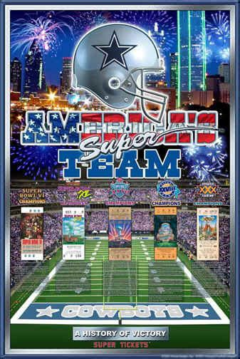 Dallas Cowboys Histroy of Victory Football Art Poster Posters